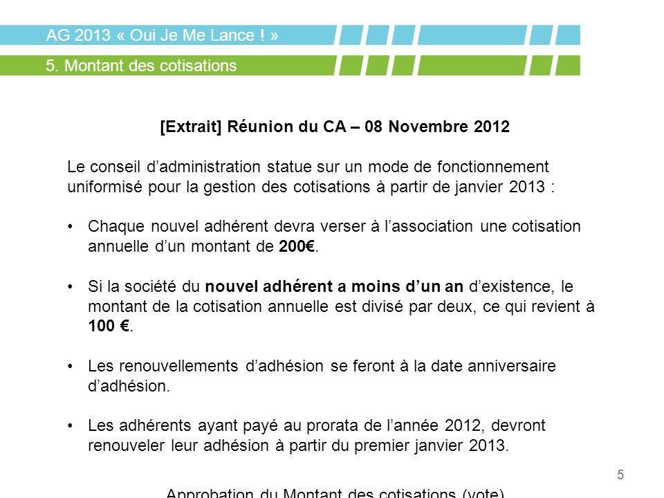 [Extrait] Réunion du CA – 08 Novembre 2012